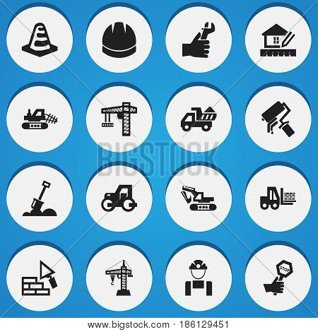 Set Of 16 Editable Building Icons. Includes Symbols Such As Mule, Caterpillar, Home Scheduling And More. Can Be Used For Web, Mobile, UI And Infographic Design.