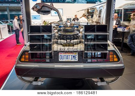 STUTTGART GERMANY - MARCH 02 2017: The DeLorean time machine (Back to the Future franchise) based on a DeLorean DMC-12 sports car. Europe's greatest classic car exhibition