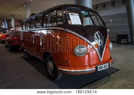 STUTTGART GERMANY - MARCH 02 2017: Minibus Volkswagen Transporter T1 Samba 1955. Europe's greatest classic car exhibition