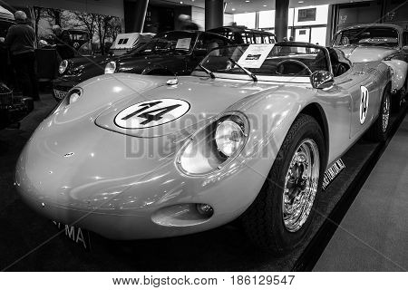 STUTTGART GERMANY - MARCH 02 2017: Racing car Porsche 718 RSK Spyder Tribute 1970. Black and white. Europe's greatest classic car exhibition
