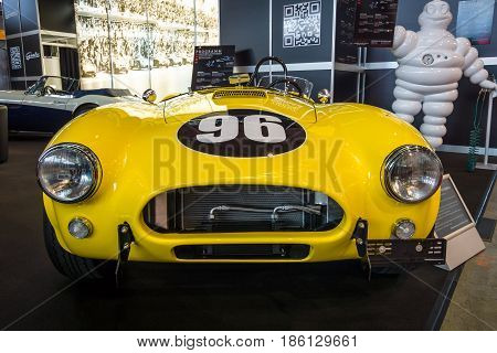 STUTTGART GERMANY - MARCH 02 2017: Sports car Shelby Cobra 289 FIA Replica 1967. Europe's greatest classic car exhibition