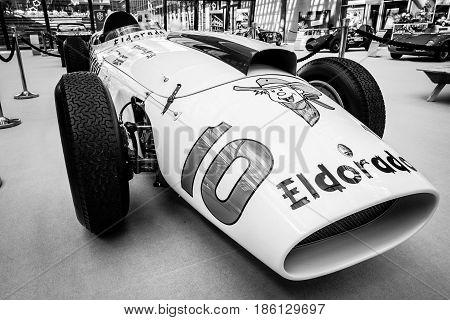STUTTGART GERMANY - MARCH 02 2017: Racing car Maserati 420M Eldorado 1958. Black and white. Europe's greatest classic car exhibition