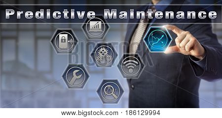 Blue chip management consultant is presenting a Predictive Maintenance solution. Concept for the measurement of process performance and continuous condition monitoring via wireless sensor networks.