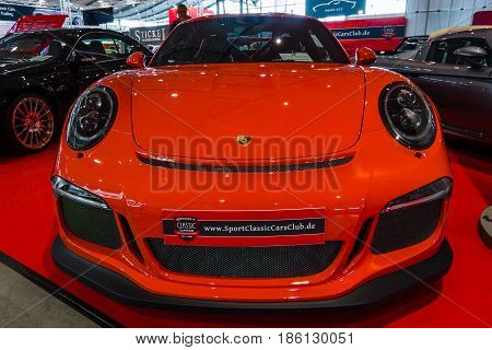 STUTTGART GERMANY - MARCH 02 2017: Sports car Porsche 991/911 GT3 RS 2017. Europe's greatest classic car exhibition