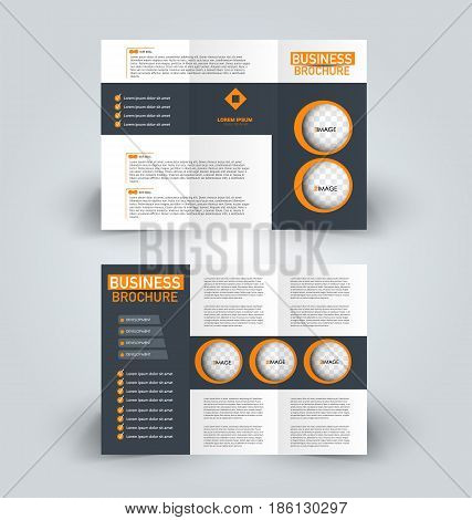 Brochure template. Business trifold flyer.  Creative design trend for professional corporate style. Vector illustration. Grey and orange color.