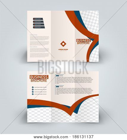 Brochure template. Business trifold flyer.  Creative design trend for professional corporate style. Vector illustration. Blue and red color.