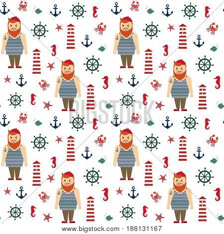 Navy vector seamless sea pattern: bearded sailor, lighthouse, fish, anchor, seahorse. Cute nautical background. Marine life Background Collection. Baby style design for textile, wallpaper, fabric