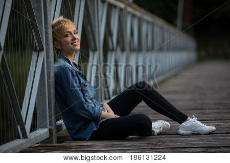 Smiling Confident Casual Young Blond Woman