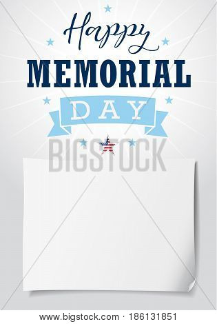 Happy Memorial Day USA calligraphy light banner. Happy Memorial Day USA hand lettering vector card, star, ribbon, stripes and paper on light background