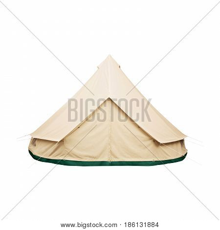 Bell Tent Isolated On White Background. Orange Dome Tent On Clipping Path. Camping Tent. Alpine Tent