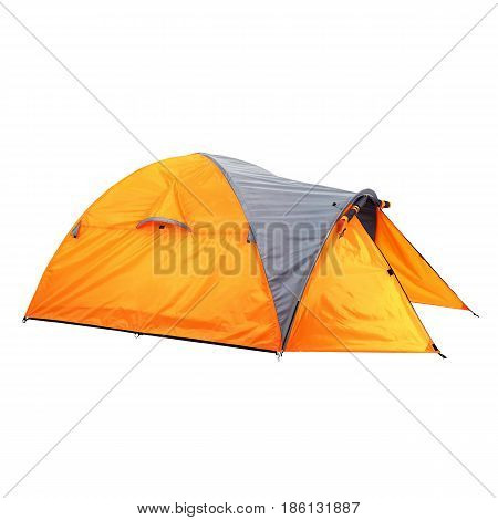 Person Dome Tent Isolated On White Background. Orange Dome Tent On Clipping Path. Camping Tent. Alpi