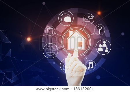 Hand pressing circular futuristic interface of smart home automation assistant on a virtual screen on dark blue background. 3D Rendering
