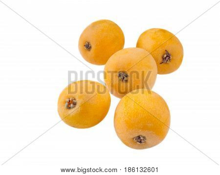 Group of five loquat fruits isolated on white