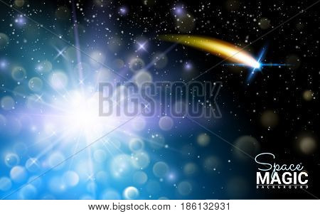 Neon Glittering Star Dust trail Sparkling Particles. Blue Space Sparkle Comet Tail. Effect Realistic Design Elements. Vector Illustration Modern Background.