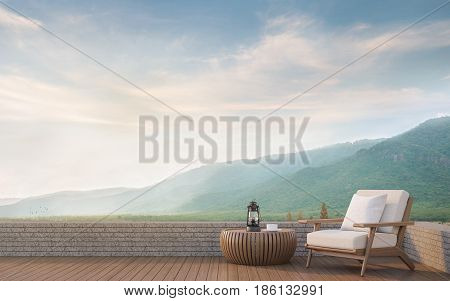 Outdoor living with mountain view 3d rendering image.Decorate with wood furniture There are wooden floorstone wall and surrounding with nature and mountains