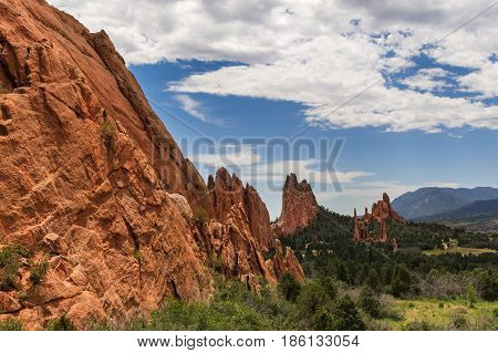 Beautifull red sandstone rock formation in Roxborough State Park in Colorado near Denver USA