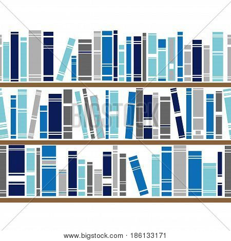 Bookshelf seamless vector pattern. Illustration of bookcase. Blue and gray background