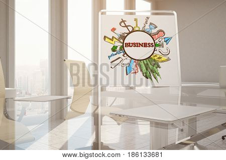 Modern conference room with business sketch on whiteboard and city view. Success concept. 3D Rendering
