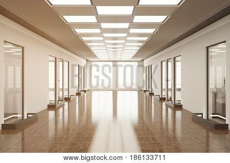 Front view of empty office hallway with city view and daylight. Toned image. 3D Rendering