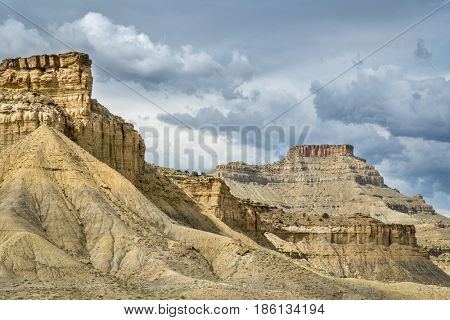 cliff, buttes and mesa of Book Cliffs in eastern Utah