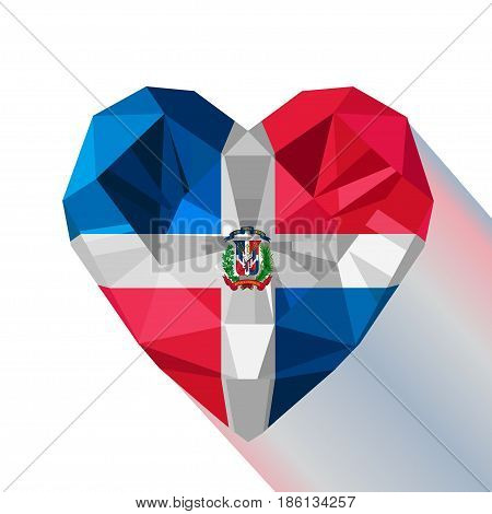 Vector crystal gem jewelry Dominican heart with the flag of The Dominican Republic. Flat style logo symbol of love The Dominican Republic. Caribbean islands. Hispaniola