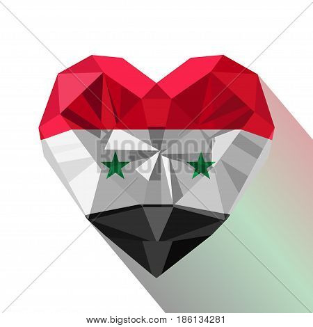 Vector crystal gem jewelry Syrian heart with the flag of the Syrian Arab Republic. Flat style logo symbol of love Syria.