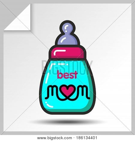Bottle with infant formula-holiday icons for mother's day or for birthday. Vector Isolated flat colorful illustration.