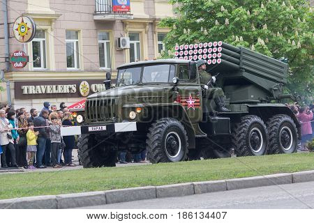 Donetsk Ukraine - May 9 2017: Multiple launch rocket system BM-21 army of the Donetsk People's Republic at the military parade in honor of the anniversary of victory in World War II