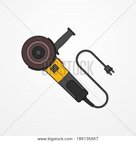 Typical electric angle grinder with wire and abrasive disc. Modern isolated cutting tool in flat style. Professional power tool vector stock image.