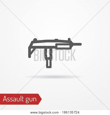 Abstract compact assault firearm. Submachine gun isolated icon in line style with shadow. Typical gangster or criminal weapon. Military vector stock image.