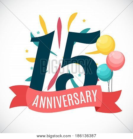 Anniversary 15 Years Template with Ribbon Vector Illustration 15