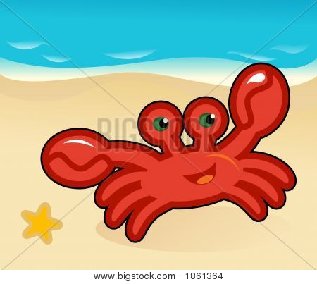 Happy cartoon crab on the beach on vacations poster