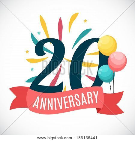 Anniversary 20 Years Template with Ribbon Vector Illustration EPS10