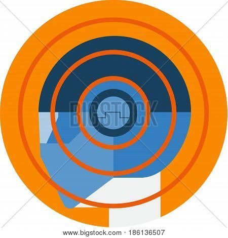 Man Wearing Hyper Sensor Helmet Icon. Wearable Technology Gadget Futuristic Concept Vector Icon.