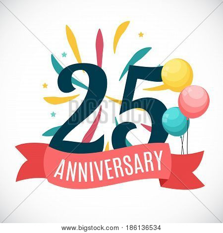 Anniversary 25 Years Template with Ribbon Vector Illustration EPS10
