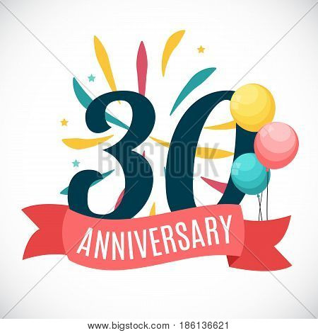 Anniversary 30 Years Template with Ribbon Vector Illustration EPS10