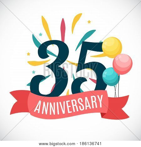 Anniversary 35 Years Template with Ribbon Vector Illustration EPS10