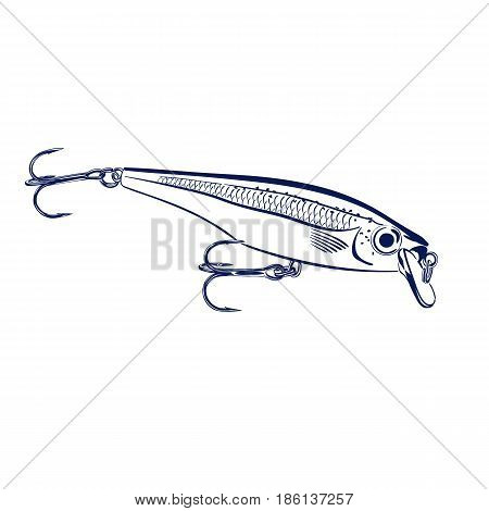 Isolated illustration of spinning lure wobblers Vector illustration can be used for creating logo and emblem for fishing clubs, prints, web and other crafts