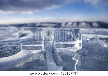 Broken Ice floe of Baikal lake. Winter nature