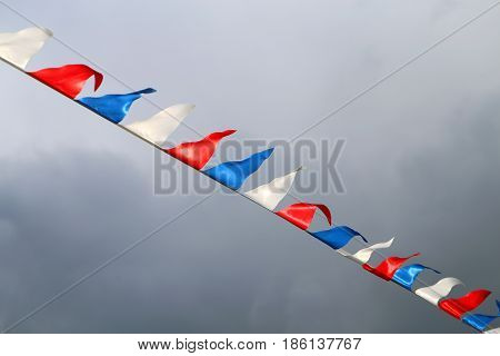 Beautiful tricolor Russian flag is red white and blue.