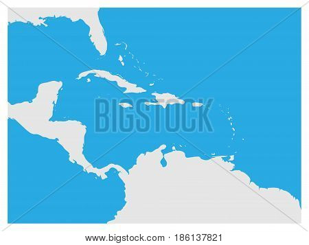 Map of Caribbean region and Central America. Grey land silhouette and blue water background. Simple flat vector illustration.