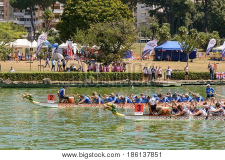 Rome Italy - July 30 2016: Dragon boat crews compete at the european championships held in Italy in 2016 summer in the photo the Italian and the UK crew