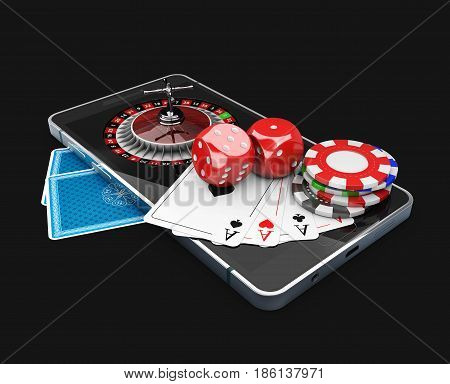 3d Illustration of Mobile phone with Roulette, playing cards, dice and chips. Online casino concept