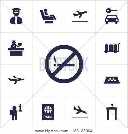 Set Of 13 Land Icons Set.Collection Of Security, Cab, Passport And Other Elements.