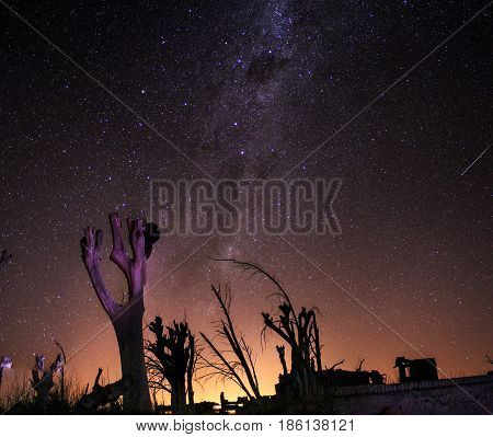 Panoramic photograph of the Milky Way in the ruins of the city of Epecuen