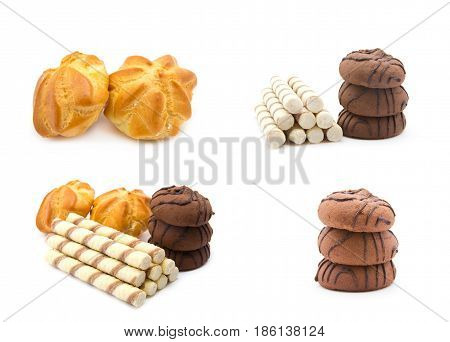 Chocolate chip cookies, cake, straws on white background, dessert
