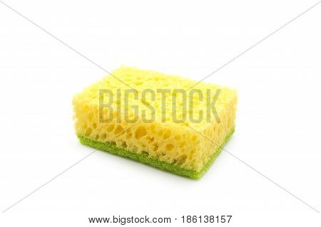 Yellow bast for ware washing isolated on a white background