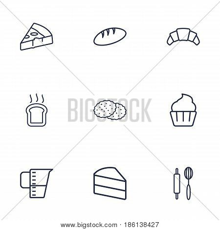 Set Of 9 Stove Outline Icons Set.Collection Of Croissant, Measuring Cup, Cookie And Other Elements.