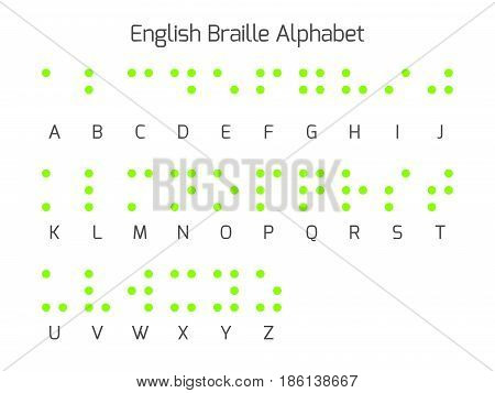 Braille alphabet letters. Braille is a tactile writing system used by people who are blind or visually impaired. Vector illustration.