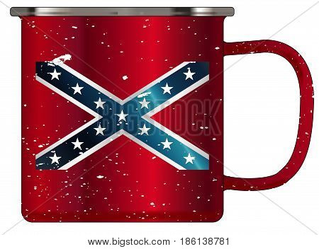 A typical red coloured tin cup with white mottle FX over a white background and the Rebel flag